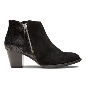 Vionic Anne Booties suede ankle snake black 6.5